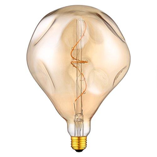 Yunte Große Vintage Edison LED Glühbirne Ausländer A165 (φ 165 mm) Dimmbare Dekorative Leuchte Flexible LED Glühlampe, E27 Schraubsockel, Warmweiß 2200K, 4W Entspricht 25W, 220V, Gelb [Energieklasse A++](1 Pack)