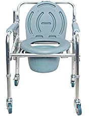 FASTWELL Premium Commode Chair with Foldable Wheel and Lock