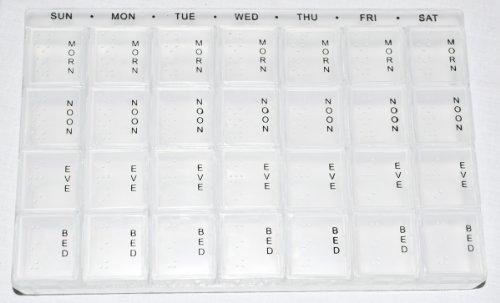 Hispuk Tablettenorganizer, für 7 Tage, mit 4 Fächern pro Tag, englischsprachige Aufschrift, extragroß