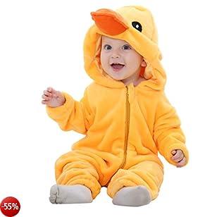MICHLEY Bambino Pagliaccetto Animale Autunno inverno vestiti infantile Flanella Ragazze Costume yazi-100cm