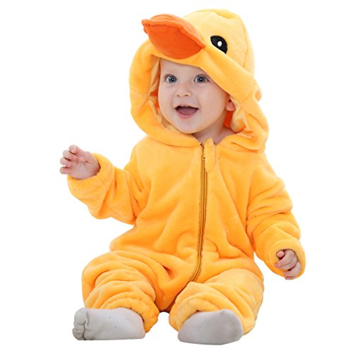n und junge Flanell Winter Strampler Bekleidung Karikatur Tier Jumpsuit Spielanzug ( Ente 90 ) (Das Tier Baby Kostüm)