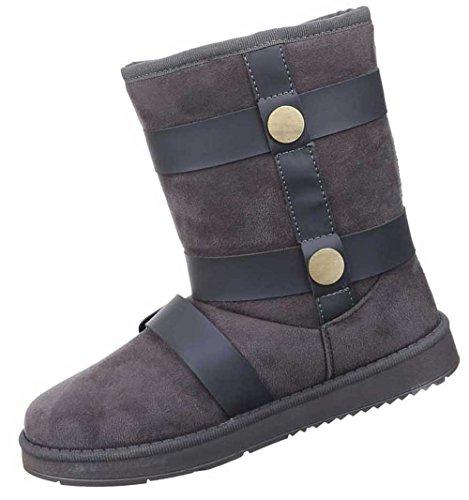 Damen Stiefeletten Schuhe Warm Gefütterte Boots Schwarz Grau