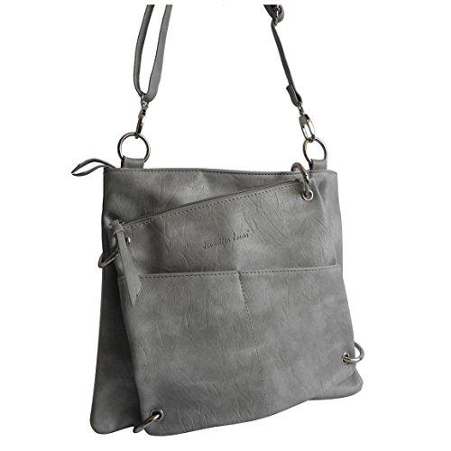 1 Silber-handtasche (schicke 2 in 1 Handtasche von Jennifer Jones - Umhängetasche , Damen-Tasche , Shopper , Schultertasche , Abend-Tasche - ( Grau ) - präsentiert von ZMOKA®)