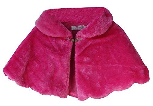 AEL Girls Faux Fur Shoulder Cape Bridesmaid Tippet Bolero Wrap Stole Shrug 0-12 Years