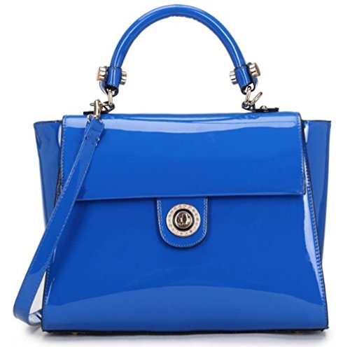 LeahWard® Damen Groß Tragetaschen Damen Essener-Tasche Mode Essener Chic Handtaschen Qualität Kunstleder oben Griff Tasche CWL0225 CWKP8840A CWKP8851 CWW1471 Patent Taschen-blau