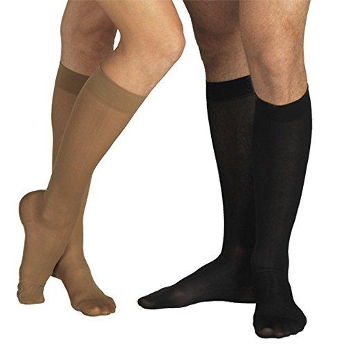 23-32 mmHg KOMPRESSIONS KNIESTRÜMPFE Stütz Socken AD, Medizinische Klasse KKL II, CCL 2 Strümpfe mit Fußspitze (L (170-182 cm), Schwarz)