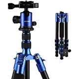 "K&F Concept Travel Tripod, For Camera Light Portable Aluminum 50"" With Ball Head Carrying Bag For Sony Canon Nikon DSLR-Blue"