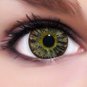 Linsenfinder Lenzera Circle Lenses braune 'Nudy Brown' ohne und mit Stärke + Kombilösung + Behälter Big Eyes farbige Kontaktlinsen