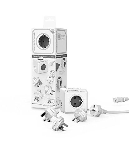 Travel-Cube ReWirable DuoUSB, Power-Würfel für 4 Stecker und 2 USB Ports (2,1 A), Mehrfach-Steckdose mit Schuko-Kabel und 3 Reise-Adapter für UK USA AUS, grau-weiß Duo Notebook