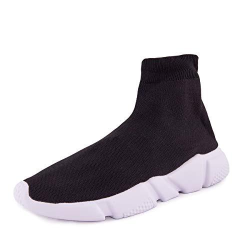 A-round scarpe uomo ginnastica sneakers calzino slip on aw2019 (41 eu, nero para bianca)