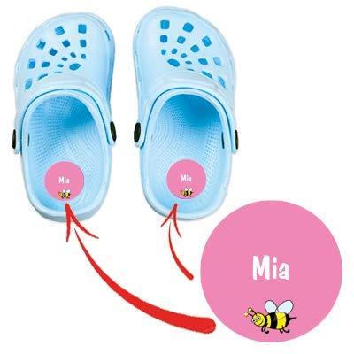 Stickerella Namensaufkleber, Schuhaufkleber, wasserfest, personalisierbar, extra Schutz gegen Abrieb, 36 Aufkleber (18 Paar Schuhe) (pink)
