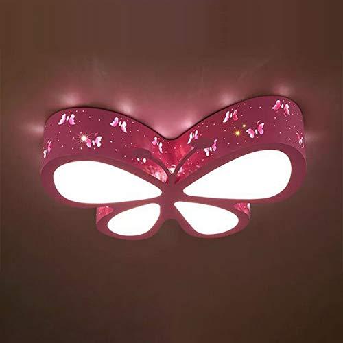 ZZOOK Schmetterling LED Deckenleuchte Prinzessin Schlafzimmer Kinder Schmiedeeisen Tischlampe Dimmbare Decke Für Kind Mit Fernbedienung Cartoon Decke Kinderzimmer Tochterzimmer,Rosa,45×45cm24w