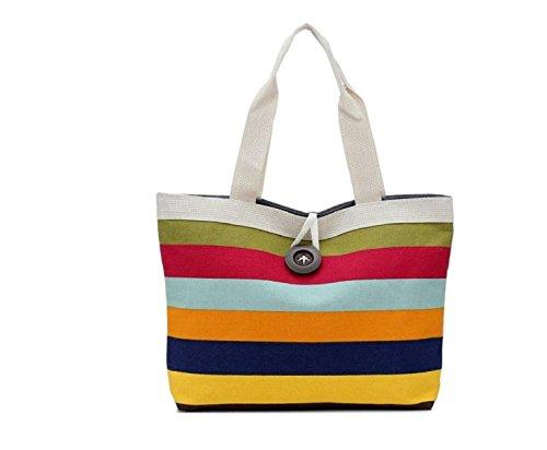 Hippolo signora strisce colorate borsa di tela borsa di acquisto Porpora 2