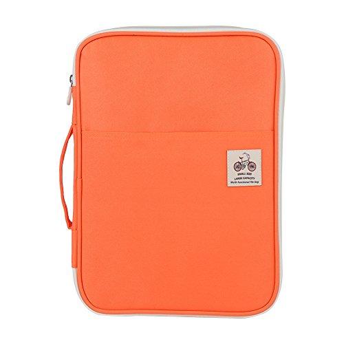 GLOGLOW 5Farben A4Dokument Tasche, Multifunktionale Wasserdicht Oxford Tuch Datei Ordner Portfolio Organizer Computer Notebook Reißverschluss Fall Orange
