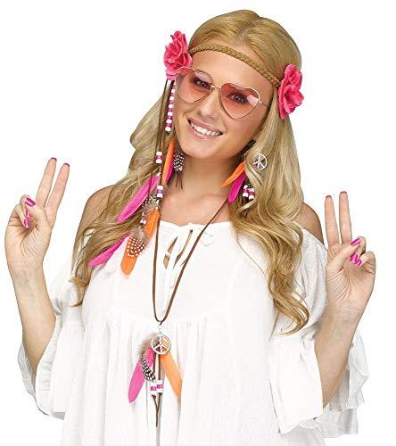 shoperama 5-teiliges 60er Jahre Flower Power Hippie Set - Herz-Brille Haarband Ohrringe Kette Perlen Federn Blumen Peace-Symbol