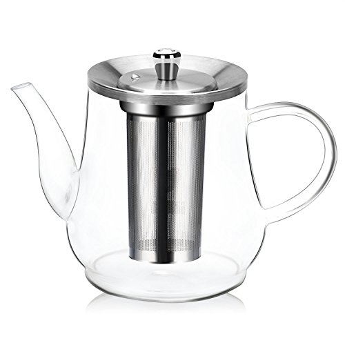 Teekanne, teekanne Glas 1500ml, im Einklang mit der Lebensmittelsicherheit Material (18/8) große Teekanne, mit abnehmbare Edelstahl-Sieb Glaskanne Aufheizen auf dem - Eine Teekanne