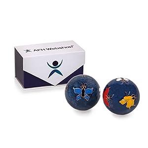 Meditation Qi-Gong-Kugel Paar mit Klangwerk | Klangkugeln | Yin Yan | Design SCHMETTERLING | mit hochwertiger und wiederverschließbaren Aufbewahrung Magnetbox