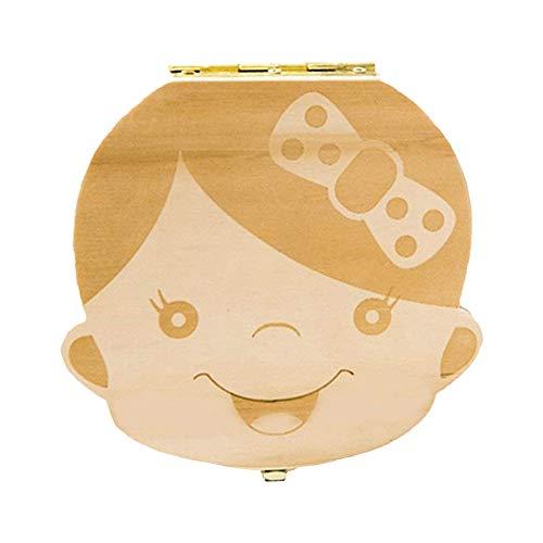 leisial Lovely Baby Zähne sparen Box Holz handgefertigt Andenken Langlebig mädchen