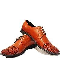 Modello Crocette - 44 EU - Cuero Italiano Hecho A Mano Hombre Piel Naranja Zapatos Vestir Oxfords - Cuero Cuero Suave - Encaje