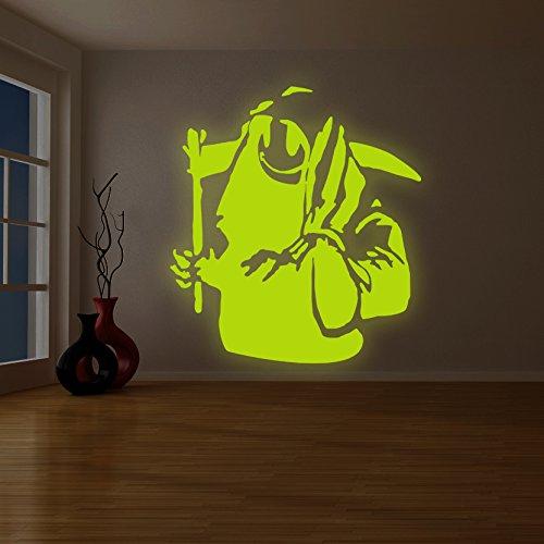 (219x 240cm) Banksy Glowing Vinyl Wand Aufkleber Death mit Happy Smile Face/Glow in Dark Doom mit Braid Aufkleber/Leuchtziffern Wandbild + Gratis Aufkleber Geschenk (Happy Face-wand-aufkleber)