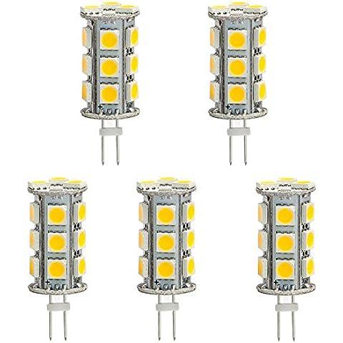 hero-led trasera Pin Torre T3G4Base Bi Pin JC LED Halógeno Bombilla de Repuesto de xenón, 12V AC/DC o 24V DC, lámparas de escritorio, lámparas colgantes, luces de Puck, carbono, luces under-cabinet, Marine, barcos, Yates, Accent, pantalla, el paisaje y Iluminación General, 18ledes SMD, 30–35W Repuesto, 5-Pack, blanco cálido, G4, 3.60 wattsW 12.00