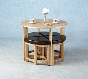 WorldStores Sherwood Mocha Stowaway Dining Table & 4 Chairs Set Small Family Kitchen Table