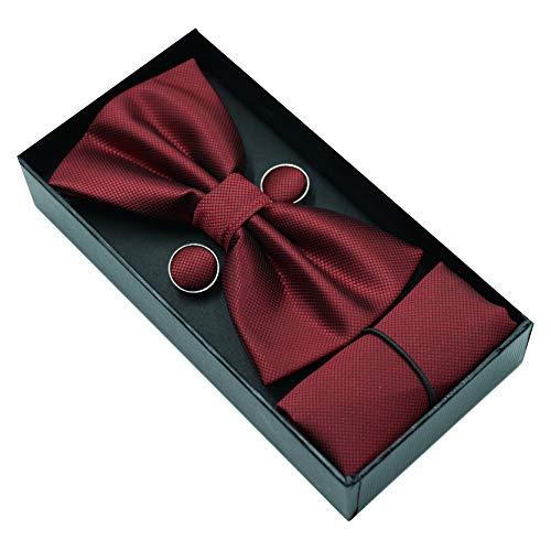 JillyMode Herren Krawatte (Set, mit Einstecktuch u.ManschettenKnöpfe) HANDMADE K0304...