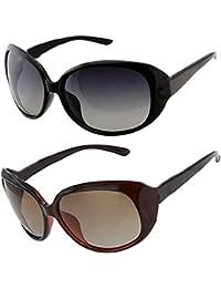 Sheomy Womens Sunglasses Of 2 Combo Of 2 Sunglass (Black Brown) Wayfarer Sunglasses For Womens/Girls/Ladies -...