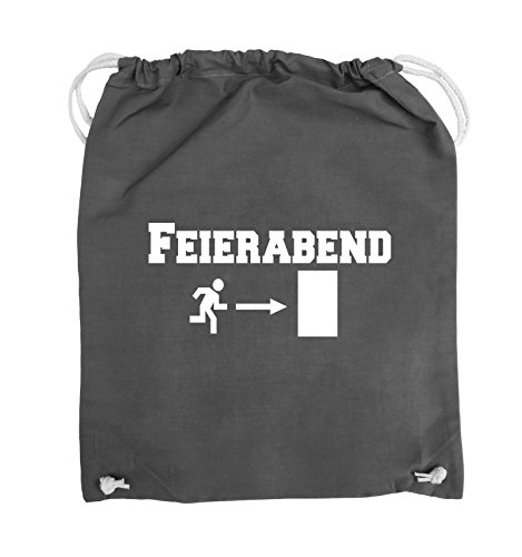 Comedy Bags - FEIERABEND - EXIT - Turnbeutel - 37x46cm - Farbe: Schwarz / Silber Dunkelgrau / Weiss