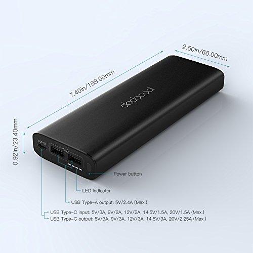 dodocool Batería Externa 20100 mAh Cargador Portátil 3 Puertos con USB C Entrada y Salida 45w PD y Dual USB para Apple MacBook / iPhone X / iPhone 8 / Samsung Galaxy S8 / HUAWEI MateBook X y otros