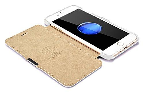 Luxus Tasche für Apple iPhone 8 Plus und iPhone 7 Plus (5.5 Zoll) / Case mit Echt-Leder Außenseite / Schutz-Hülle seitlich aufklappbar / ultra-slim Cover / Etui mit Textil-Innenseite / Farbe: Weiß - Bild 6