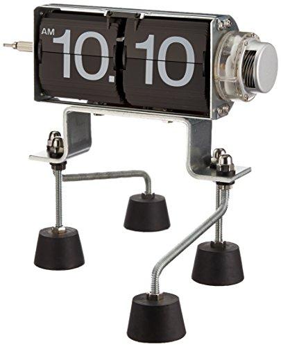 Kikkerland - Reloj flip de acero y plástico, color negro