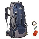 65L+5L/45L+5L/50L+5L Beigsteigen Backpack Outdoor Leicht Fahrrad Rucksack Klettern Wanderrucksack Reise Sport Tagesrucksack Camping Trekkingrucksack mit Regenschutzhülle Wasserdicht (Dunkelblau-2, 50L)
