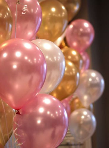 GrandShop 50414 Toy Balloons Princess Theme Party Metallic HD - Pink, White & Gold (Pack of 50)