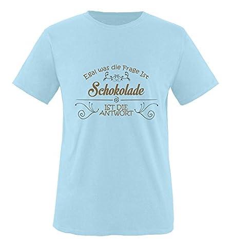 Comedy Shirts - Egal was die Frage ist, Schokolade ist die Antwort. - Jungen T-Shirt - Royalblau / Hellbraun-Grau Gr. 122/128