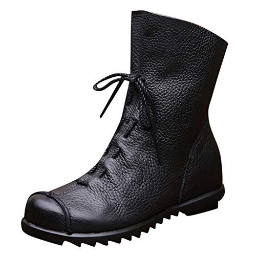 (Niedrige Stiefel high Heels,Oliviavan Stiefeletten Schwarz Lederschuhe Elegant Chelsea Boots Damen Schuhe der einfachen ledernen Schuhe der einzelnen Schuhfrauen)