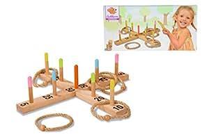Eichhorn 4505 – Outdoor Ringwurfspiel aus Holz – 50×50 cm mit 5 Wurfringen