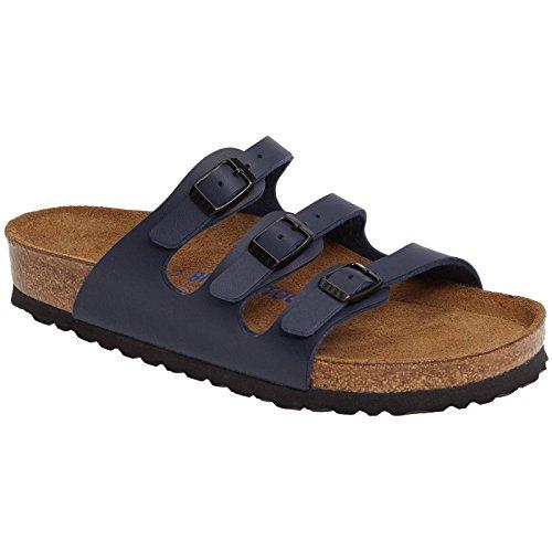 Buckle Mule Sandals (BIRKENSTOCK Womens Florida Blue Birko-Flor Sandals 37 EU)