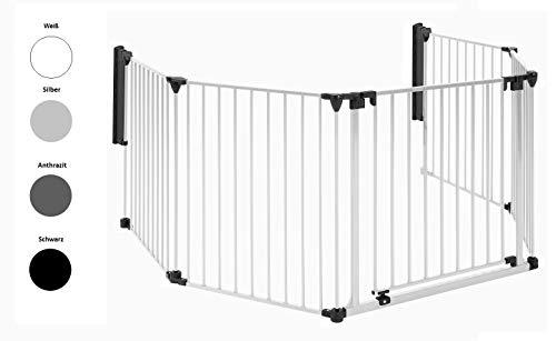 Original IMPAG® Kaminschutzgitter XXL | 190-430 cm | Extrabreite Automatik-Tür | 90° Feststell-Funktion | Einhandbedienung | (7-tlg. Weiß)