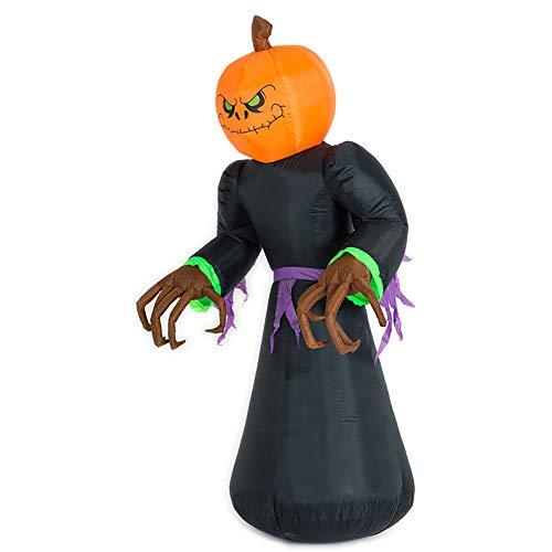 8 Fuß Aufblasbar Kürbis Geist Kopf Monster Mit Vampir LED Beleuchtung Dekor Sprengen Hof Urlaub (Aufblasbares Kürbis Kopf Kostüm)