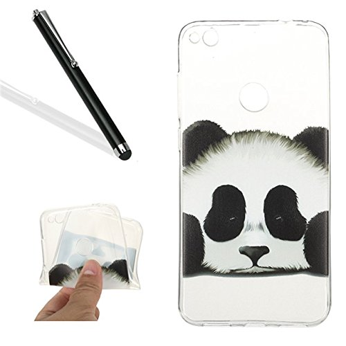 Price comparison product image Huawei P8 Lite 2017 / Honor 8 Lite Tpu Case,Huawei P8 Lite 2017 / Honor 8 Lite Clear Case,Leeook Thin Transparent Slim Fit Soft Gel Flexible Scratch-Resistant Cute Panda Pattern Crystal Clear Silicone Tpu Rubber Bumper Case Cover for Huawei P8 Lite 2017 / Honor 8 Lite+ 1x Black Stylus