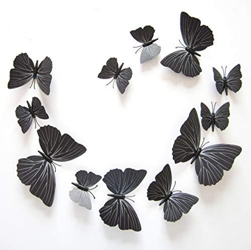 nehmbare Selbstklebende Diy Kunst Moderne Dekoration Pvc Schwarz Schmetterling 3D Wandbild Design Poster Retro Aufkleber Wand Home Wohnzimmer Abnehmbare Wanddekoration Aufkleber ()