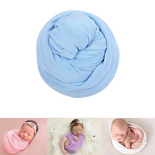 Neugeborene Baby Fotografie Foto Stützen Junge Mädchen Kostüme Outfits Kleidung Strecken Wickeln Swaddle (Light Blue)
