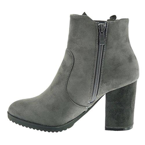 Angkorly Scarpe Moda Stivaletti Scarponcini chelsea boots cavalier donna intrecciato Tacco a blocco alto 8.5 CM Grigio