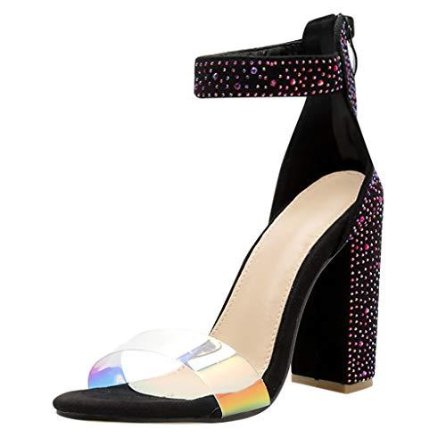 friendGG✿Damen Schuhe Damenmode Multicolor Kristall Pumps Stilettos Schnalle High Heel Schuhe (38 Bodyguard Revolver)