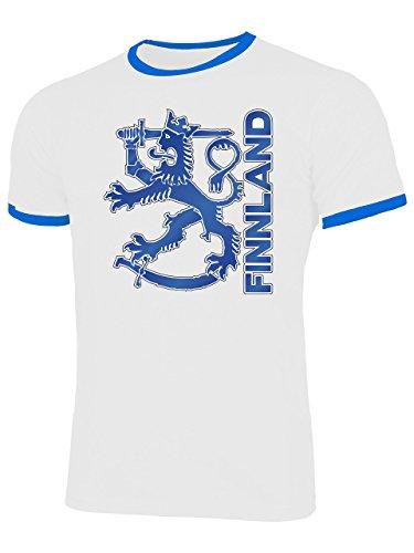 Finnland Suomi Finland Fan t Shirt Artikel 3202 Fuss Ball Ringer Tee EM 2020 WM 2022 Trikot Look Flagge Fahne World Cup Jersey Männer Herren XXL
