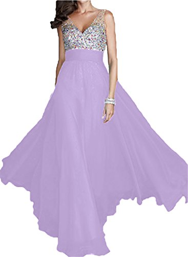 Ivydressing Damen Elegant V-Ausschnitt A-Linie Chiffon Lang Partykleid Festkleid Promkleid Abendkleid Lilac