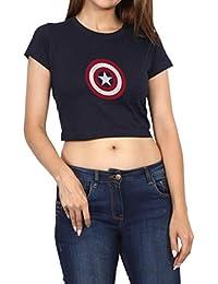 Folk Republic Captain America Logo Printed Women's Crop Navy Blue T Shirt