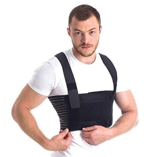 Ortopédica masculino costilla de la correa/soporte del pecho masculino - elástico y transpirable Brace Negro Medium