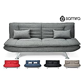 Samira Divano letto clic clac in tessuto grigio – divano 3 posti mod. Iris con cuscini